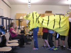 Mr. Kawaragi allows the students to try on his Tiger costume!