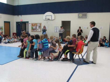 West Bath School students play a Japanese game. Don't fall!